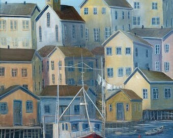 """Limited Edition Giclee Print - """"Harbour Calm""""  8"""" x 14"""", Coastal, Red Boat, Ocean, Seaside Village"""
