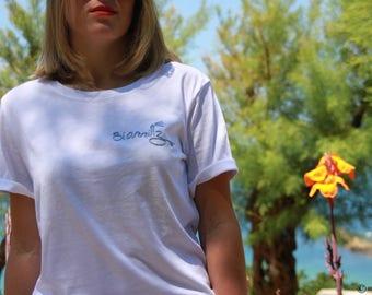 Little t-shirt Biarritz hand embroidered