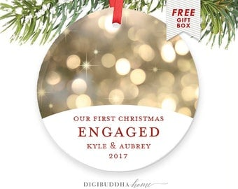 Gifts for Newly Engaged Couple Christmas Ornament Personalized Engagement Ornament, Our First Christmas Engaged Personalized with Names