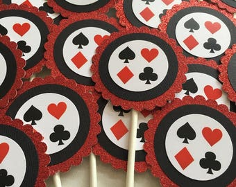 Casino|Poker Theme Cupcake Toppers