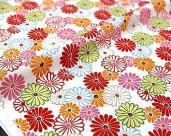 Japanese Fabric Kokka Kimono Chirimen Crepe Floral - white red - Fat Quarter