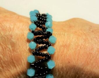 Hand Woven Beaded Bracelet - Blue and Black - Southwestern BoHo Style