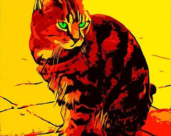 Cat in Yellow and Orange