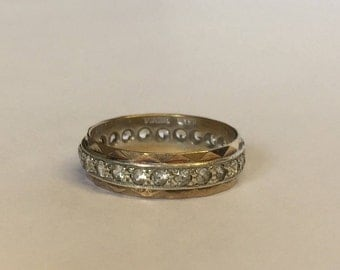 9ct Gold Full Eternity Ring With Diamonds Set In White Gold