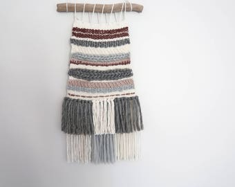 Multi Yarn weave wall hanging decor rustic with driftwood