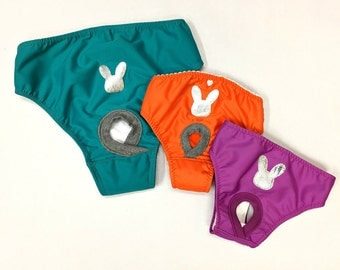 layer hygienic panty for female dog with silver rabbit motif