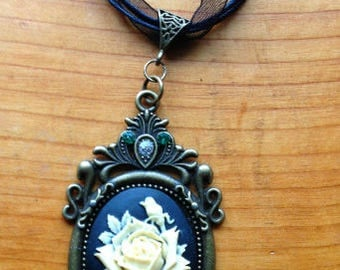 Rose Cameo with Swarovski Crystals-Handmade