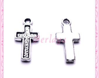 Set of 15 small silver crosses REF684X3 charms