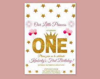 1st Birthday Invitations, 1st Birthday Girl, 1st Birthday Princess Invitation, 1st Birthday Princess, First Birthday Invitation Girl