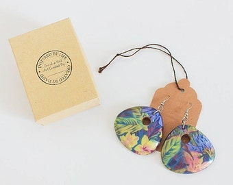 Floral Print Wooden Earrings