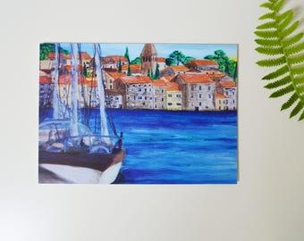 Gift parents blue blank card seascape painting oil original print art cute houses travel postcard mediterranean print yacht sea croatia art