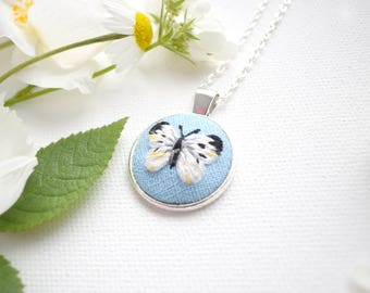 Hand Embroidered Butterfly Pendant, Embroidered Butterfly Necklace, Large White Butterfly, Nature Gift