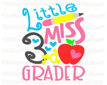 Little Miss 3rd grader SVG Clipart Cut Files Silhouette Cameo Svg for Cricut and Vinyl File cutting Digital cuts file DXF Png Pdf Eps