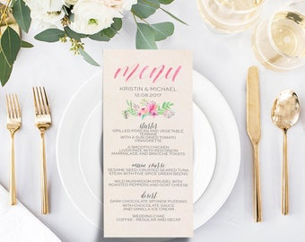 Custom Floral & Calligraphy Printable Menu Card
