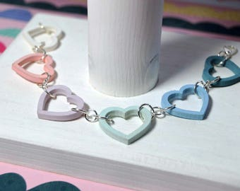 Wooden Heart Link Bracelets * Cute Pastels * Different Designs * Hand Painted Rustic Vintage Quirky Wedding