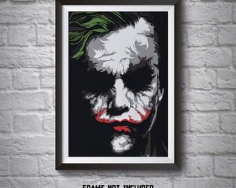 Joker Poster - Batman Poster - The Dark Knight - Gotham Wall Art - DC Comics Fan Art Print - Heath Ledger Joker All Sizes