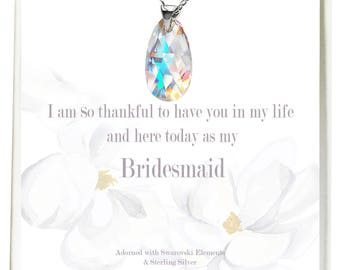 Set of 8 Bridesmaid Crystal Necklaces, 8 Crystal Pendant Necklaces, Necklaces with Swarovski Crystals, Real Sterling Silver Necklaces0010