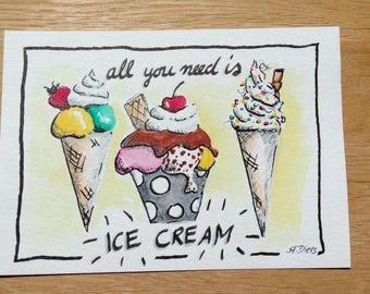 Hand-painted greeting card ice cream download