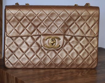 Chanel Metallic Gold Quilted Leather Classic Maxi Jumbo XL Bag
