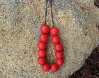 Bright Red Wooden Bead Necklace