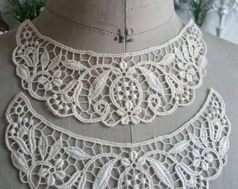 Beautiful Unused WHITE & ECRU French Vintage Guipure white  lace collar dress making costume design