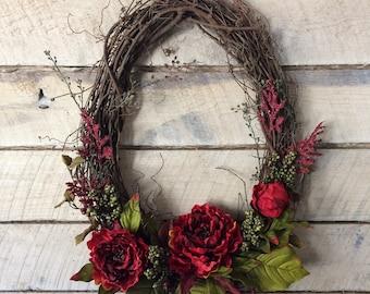 Deep Red Oval Wreath, Fall/Winter Wreath, Year Round Wreath, Double Doors Wreath