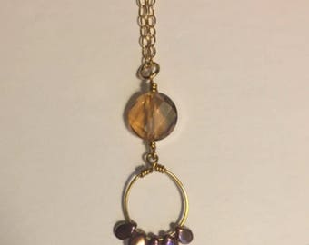 Glass Beaded Pendant Gold Necklace