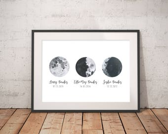 Moon Phase stage, Children names Personalised date of birth, Home Print, Gift, Family, Love A4 or A5, Quality Paper A3