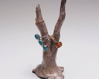 Handmade Raku Fired, Ceramic Ring Holder.