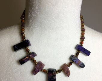 Gemstone Necklace - Unique Necklace - Natural Charoite - Vintage German Glass - Charoite Sticks - Purple - Gift for Her -