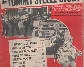 The Tommy Steele Story, Songs and Pictures from the film, 26 illustrated pages, 1957,  fair shape, Teen Idol, England, A Handful of Songs