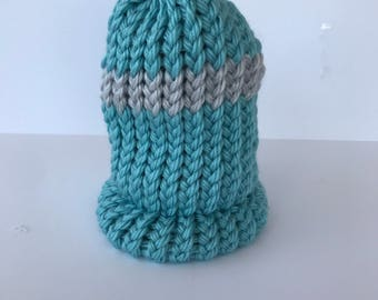 Blue Striped Baby Hat