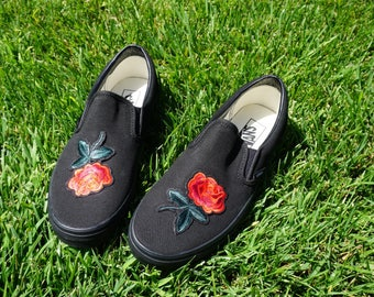 Black/Black Slip On Vans Rose Embroidery Shoes