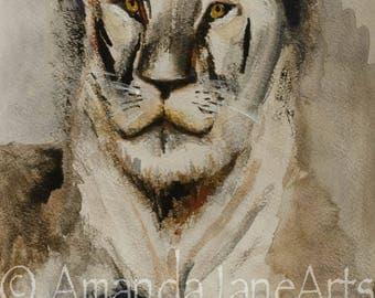 Lioness, painting, picture, art, wattercolour, print