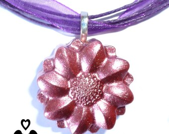 Pink lustre flower pendant on purple organza ribbon necklace. Perfect gift.