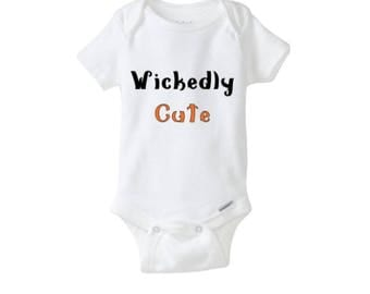 Wickedly Cute Baby Halloween Bodysuit, Baby Clothing, Funny Baby Clothing, Funny Halloween Baby Costume, Halloween Baby Clothing, Halloween