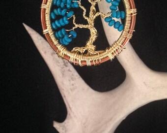 "2"" Turquoise Tree of Life pendant"