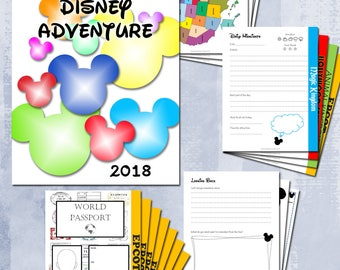 Disney World Journal | Personalize Cover Page with Name and Year | Disney Journal | Epcot Passport Included | Printable Keepsake