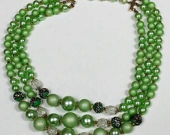 Green mid-century vintage triple strand beaded necklace marked Japan multi-strand beads