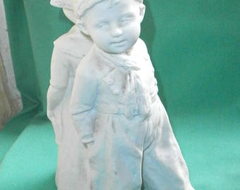 Gebr. Heubach, antique figurine of a back to back Dutch couple/ bisque/white/Germany
