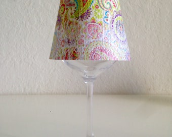 Paisley wine glass lamp shade
