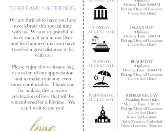 Welcome Bag Note and Itinerary | Wedding, Destination Wedding