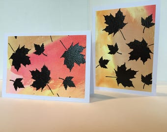 Fall Leaves Notecards, Blank Notecards, Fall Stationery, Blank Stationery, Maple Leaves