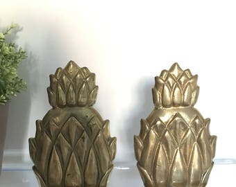 Vintage Brass Gold Pineapple Bookends Book End Hollywood Regency Mid Century Bookcase Shelf Office Desk