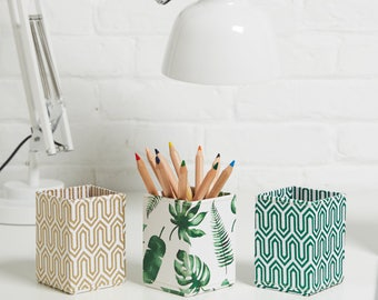 100% recycled tropical and geometric print pen pot