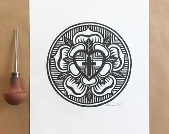 Luther Rose Art|Lutheran Print|Reformation|Martin Luther|Luther's|Block Print|Signed and Dated|Lutheran Seal|Confirmation|Pastor|Linocut