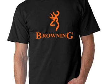 Browning Orange Logo T Shirt Hunting Unofficial fan shirt- Comes in all sizes from Youth Small up to Adult 5XL and Adult Hoodies up to 5X