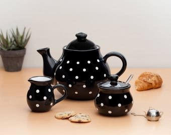 City to Cottage Black And White Polka Dot Handmade Hand Painted Ceramic Tea Set of 3