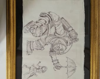 Bioshock Big Daddy drawing