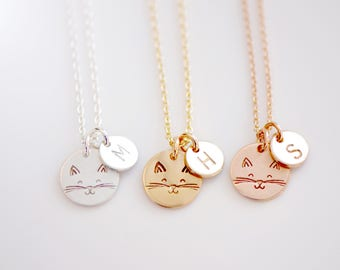 Happy Cat Initial Necklace - Cat Lover's Necklace - Cat Necklace - Dainty Necklace